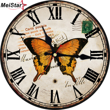MEISTAR Romantic Papillons Silent Clock Home & Garden Living Room Office Kitchen Wall Decor Art large horloge murale