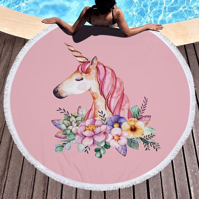 Розовый Единорог большое круглое пляжное полотенце из плотной микрофибры полотенце с цветочной кисточкой пляжное пиное одеяло Единорог охлаждающее полотенце