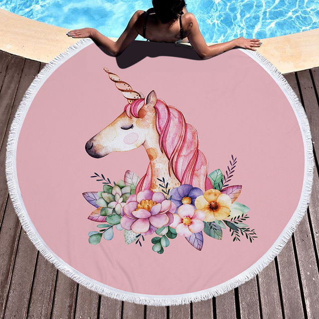 Pink Unicorn Large Round Beach Towel Thick Microfiber Towel With Floral Tassel Beach Picnic Blanket Unicorn Cooling Towel