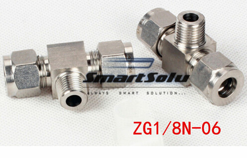 Free shipping Tee Union Stainless Steel Connector Fitting,ZG1/8N-06Thread, Homebrew Fitting,Straight terminal fittings free shipping 30pcs peg 10mm 8mm pneumatic unequal union tee quick fitting connector reducing coupler peg10 8