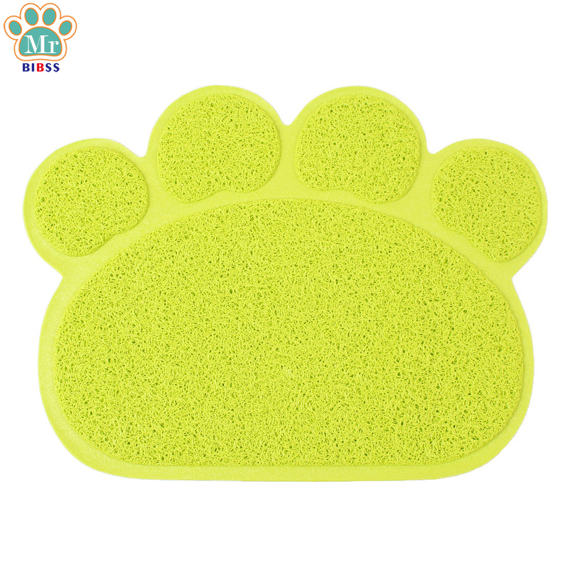PVC Dogs Feeding Mat Cute Paw Shape Pet Bowl Placemat for Puppy Kitten Animals Easy Clea ...