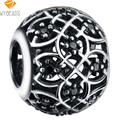 WYBEADS Silver Plated Charm Hollow Ball Black Zirconia Charms European Fit Bracelets & Bangles DIY Accessories Jewelry Original