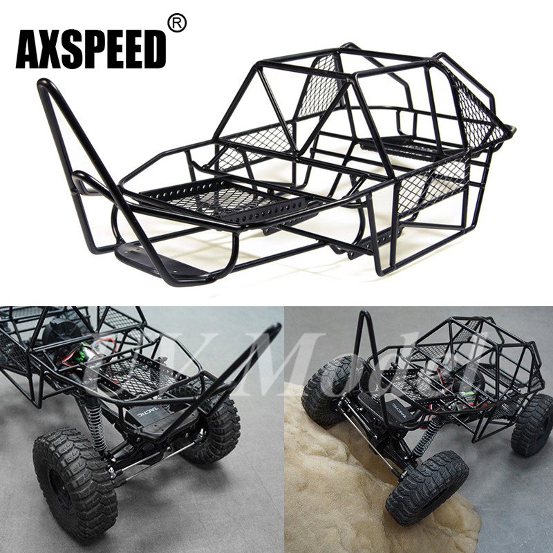 1/10 Scale RC Rock Car Xtra Speed V Steel Roll Cage Frame Body Black Chassis Axial SCX10 RC Crawler Climbing Truck Parts rc car xtra speed 1 10 nylon angry eyes grill body for 1 10 scale models jeep wrangler body xs 59758 scx10 jeep climbing cars