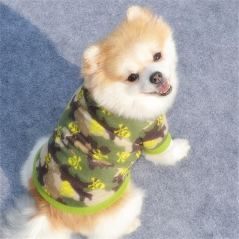 Теплый флисовый лежак для животных Одежда для собак с изображением черепа; Пальто любимчика щенка футболка для собак куртка панель в форме французского бульдога пуловер камуфляжной расцветки для собак, одежда для собак-2