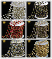 Wholesale Rosary Chain,Round Glass Pearl Craft Handmade Beads,Bronze Plated Wire Wrapped Connector Chain Necklace Finding JD0146