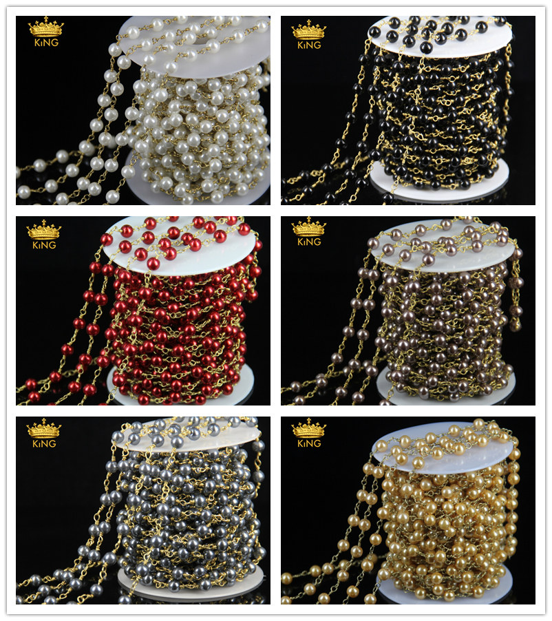 Wholesale Rosary Chain Round Glass Pearl Craft Handmade Beads Bronze Plated Wire Wrapped Connector Chain Necklace