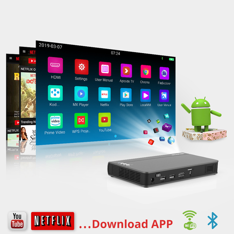 BYINTEK UFO P12 300inch Smart 3D WIFI Android Pico Pocket HD Portable Micro Mini LED DLP Projector For Iphone 11 Ipad Smartphone Lahore