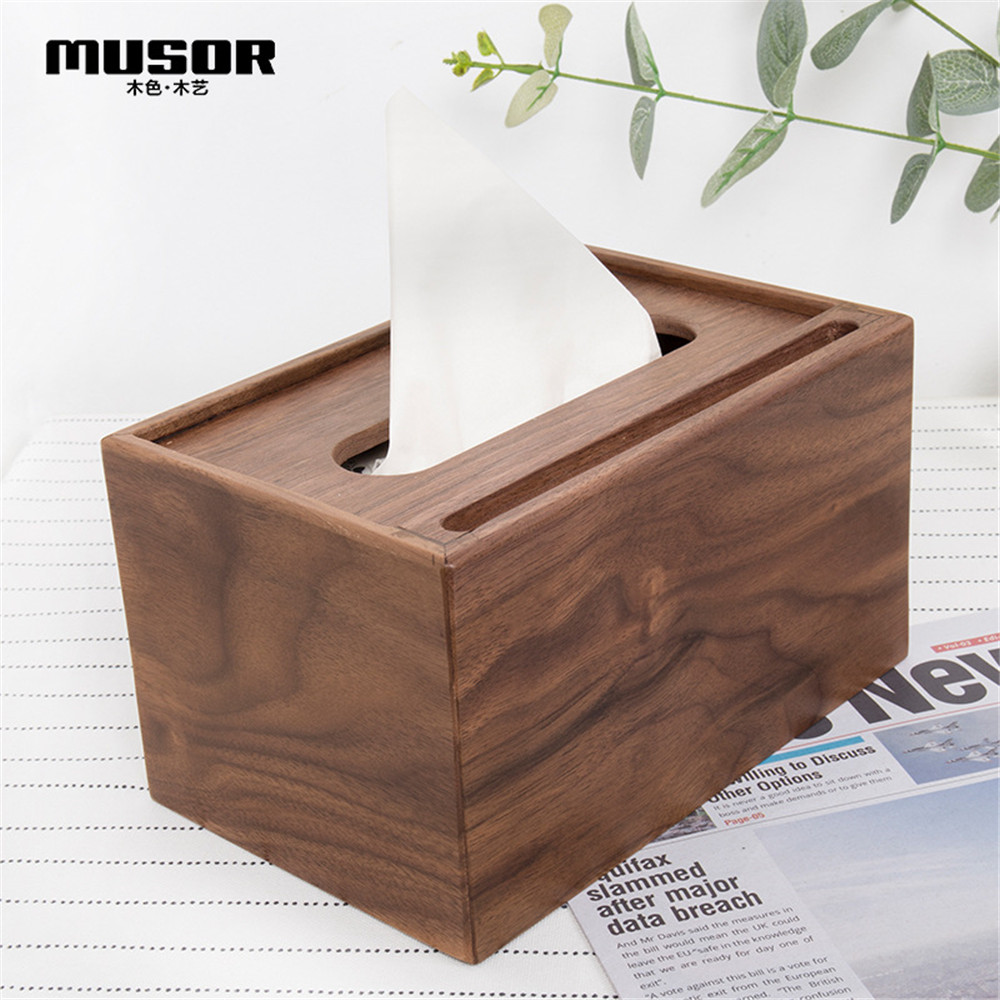 Wooden multi function tissue box walnut storage box hotel tray creative living room decoration mobile phone holder-in Tissue Boxes from Home & Garden