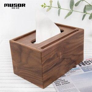 Image 1 - Wooden multi function tissue box walnut storage box hotel tray creative living room decoration mobile phone holder