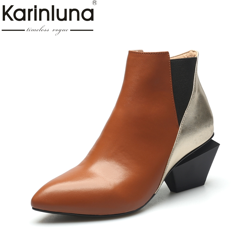 KarinLuna new Fashion plus sizes 33 43 genuine leather square heels women shoes woman sexy pointed toe ankle boots-in Ankle Boots from Shoes    1