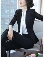 Для женщин брюки костюм в Корейском стиле Большие размеры работать полный Топ Темперамент Тонкий двух частей v образным вырезом одной кнопк