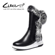 Liren Mid Calf Women Boots Zipper Warm Winter Female Fashion Real Fur Woman Snow Plus Size Shoes