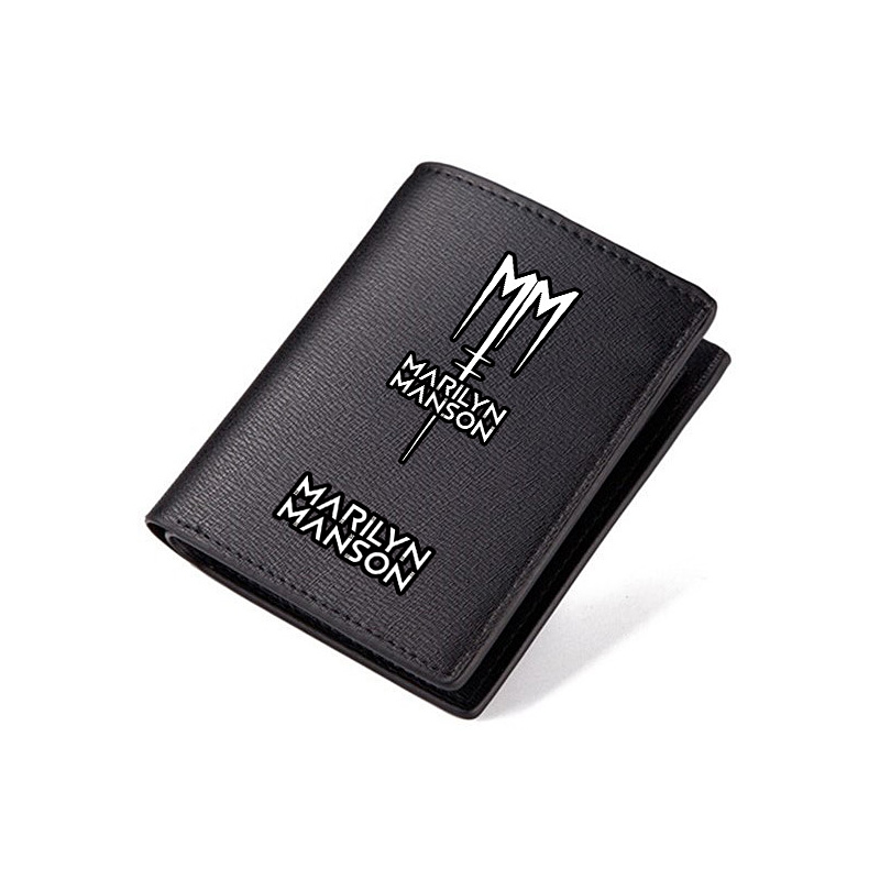 Zshop Marilyn Manson Wallets Black PU Short Purse Men Women Carteira Leather Wallet Rock Band marilyn manson guns god