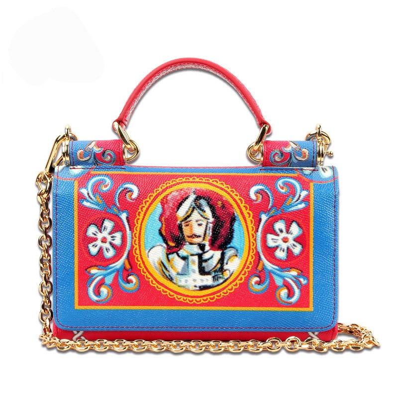 Luxury Brand Sicily Bag Prince Printed Genuine Leather Women Clutch Ethnic Style Handbags Purse Lady Shoulder Messenger Bags Sac все цены