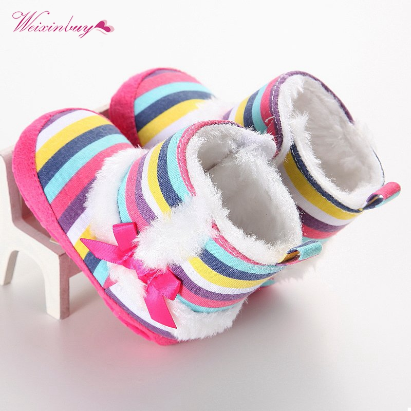 Colors Striped Baby Girl Winter Wool Cotton Padded Shoes Newborn Infant Baby Warmer Boots