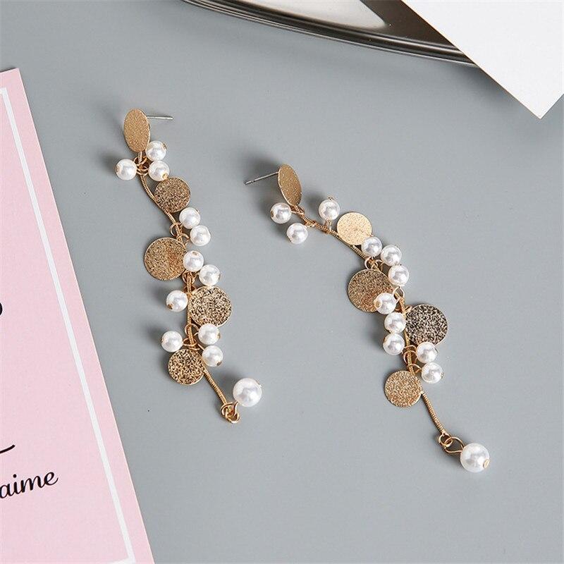 Ajojewel Round Sequin Simulated Pearl Tassel Earrings For Women Snake Chain Long Earrings Drop Shipping Bijoux Femme in Drop Earrings from Jewelry Accessories