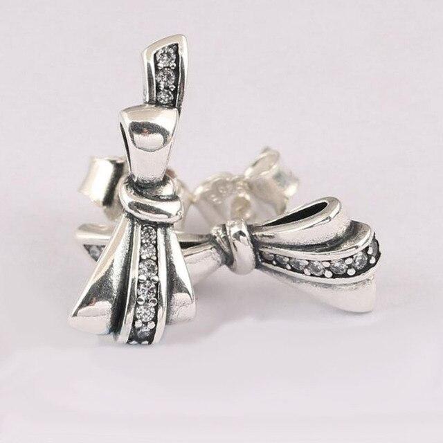 ZTUNG PDS3E Nuova Collezione di Alta Qualità Popolare 925 Sterling Silver Bowknot Viti Prigioniere Dell'orecchino