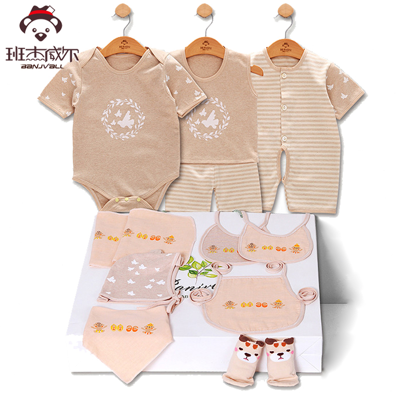 Summer baby clothes 11 Pieces Newborn Baby Boy Girls outfit Rompers Jumpsuits Short Sleeve Cotton Print infant clothing Set cotton i must go print newborn infant baby boys clothes summer short sleeve rompers jumpsuit baby romper clothing outfits set