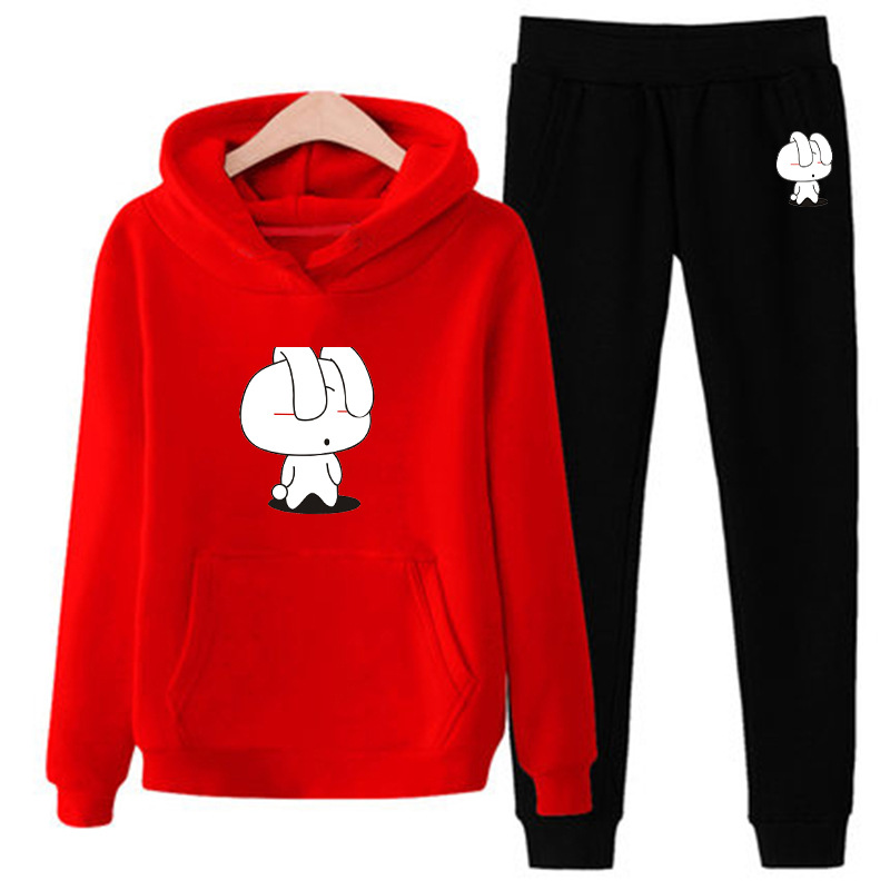 Women Cartoon Rabbit Print Tracksuit Gyms Set Fleece Hoodies Sweatshirt Pants Suit Two Piece Sets Female Track Suits Sportswear