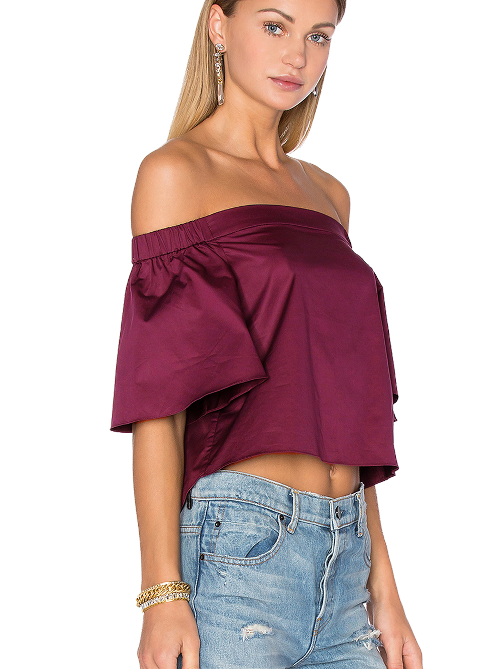 14ce6574b2c24 Faux Silk Blouse Off Shoulder Flare Sleeve Loose Top Women Solid Violet  Women Crop Top Cropped Fall 2017 Womans Clothes Fashion-in Blouses   Shirts  from ...