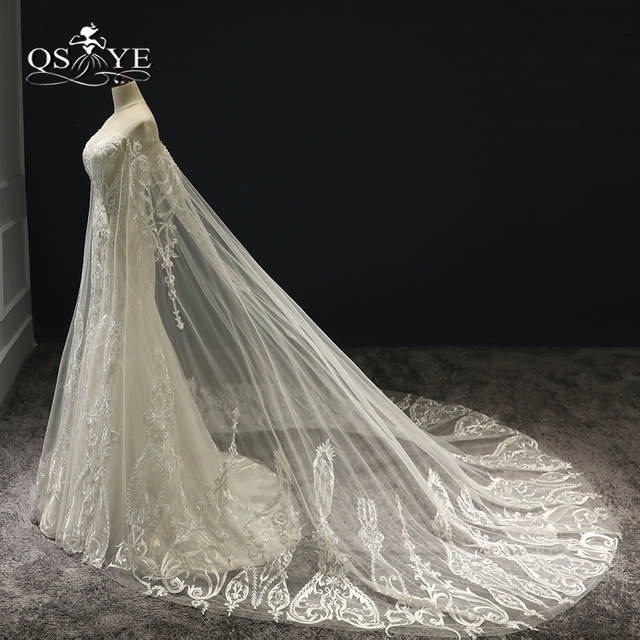 24a2cdf3af7 Online Shop 2018 New Luxury Wedding Dresses with Cape Sexy Transparent V  Neck Lace Beaded Tulle Bridal Dress Wedding Gown Custom Made