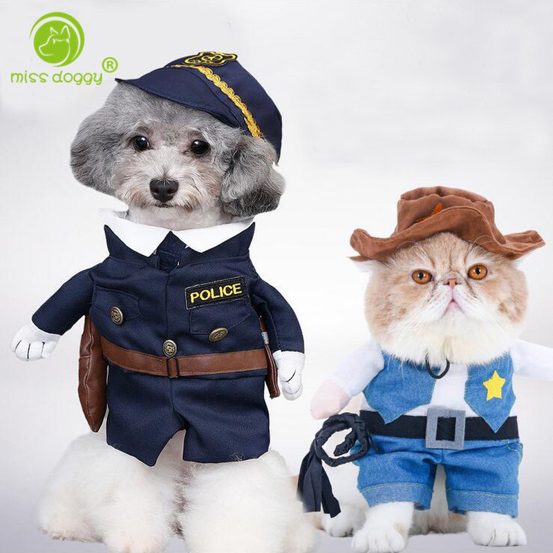 Funny Pet Dog Clothes for Small Dog Coats Puppy Jackets Pirate Police Dressing up Cat Costumes Spring Outfit Ropa de Cachorro