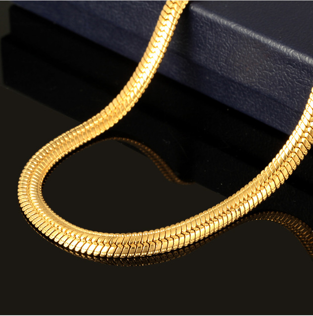 6mm wide 60cm snake chain necklace  real yellow gold filled solid men's herringbone necklace hip hop jewelry gift