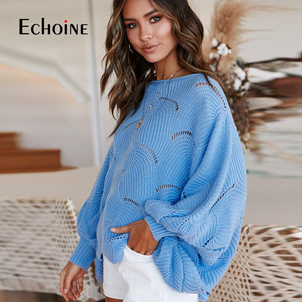 Long Sleeve Knitted Loose Female Hook Flowers Sweater 2019 NEW Autumn Winter Sweater Women White Pullover Cloak Shawl Plus Size in Pullovers from Women 39 s Clothing
