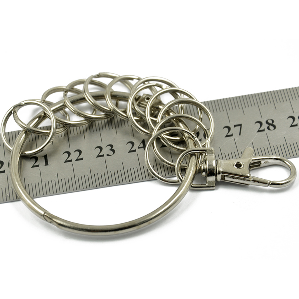 Vintage Alloy Key Rings Holder Large Round Keychain Key Holder W Hook Rings in Key Chains from Jewelry Accessories