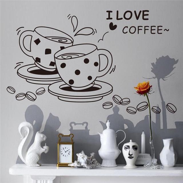 US $2.14 15% OFF|Wandaufkleber Ich liebe kaffee muster wandtattoo PVC  abnehmbare niedlichen kaffeetasse aufkleber für Küche Restaurant café  Fenster ...