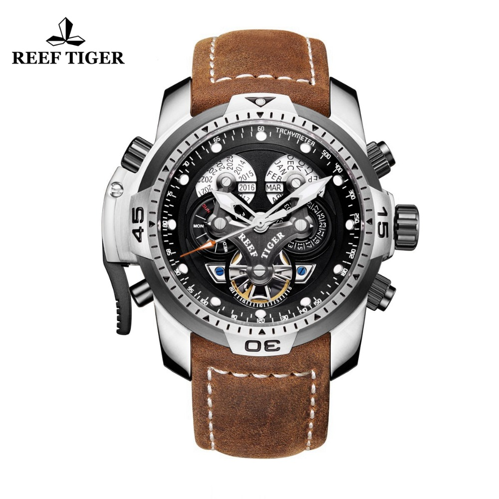 Reef Tiger/RT Sport Watch with Perpetual Calendar Date Day Steel Case Brown Leather Strap Mechanical Men's Watches RGA3503-in Sports Watches from Watches on Aliexpress.com | Alibaba Group