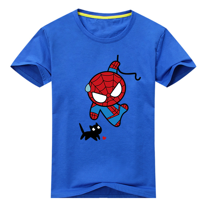 2018 Boy Girl 3D Cartoon Batman Pattern T-shirt For Kids Short Sleeve Spiderman Tee Tops Clothes Children Tshirt Costume DX004 2017 baby new batman printing clothes boy cartoon t shirt girl 9 colors t shirt children short sleeve tee tops for kids acy031