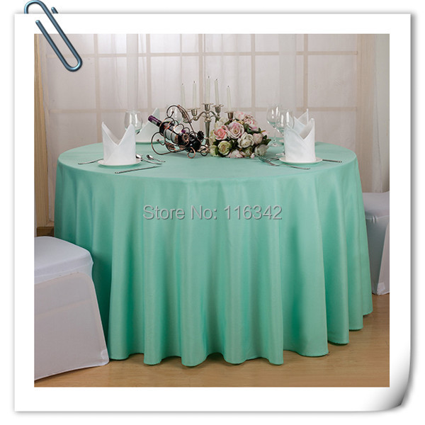 Big Discount 120 Round Polyester 10pcs Mint Green Table Cloth
