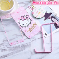 For IPhone 7 Plus 3in1 Bumper Screen Protector Cartoon Hello Kitty 3D Curved Film Frame For