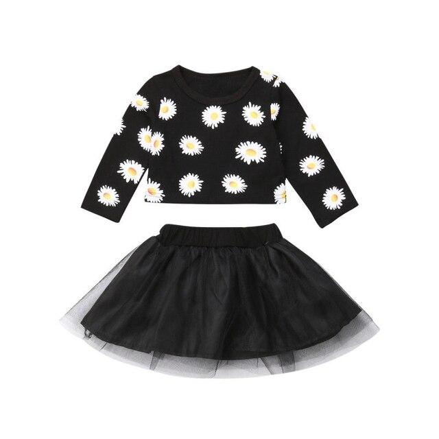 New 2 cái Bé Sơ Sinh Cô Gái Hoa Daisy Cotton Hàng Đầu Vải Tuyn Tutu Váy Trang Phục Quần Áo Giản Dị