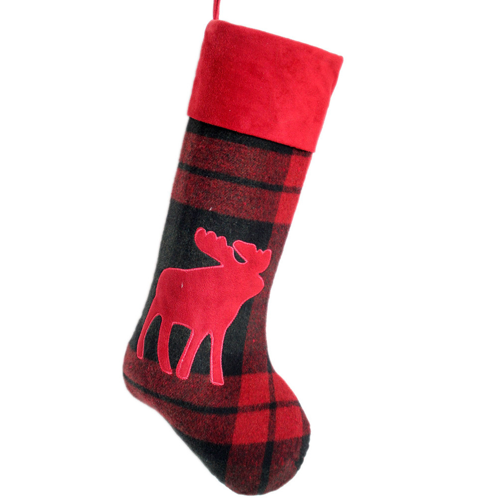 free shipping plaid body christmas stocking applique embroidery moose christmas sock in stockings gift holders from home garden on aliexpresscom - Moose Christmas Stocking