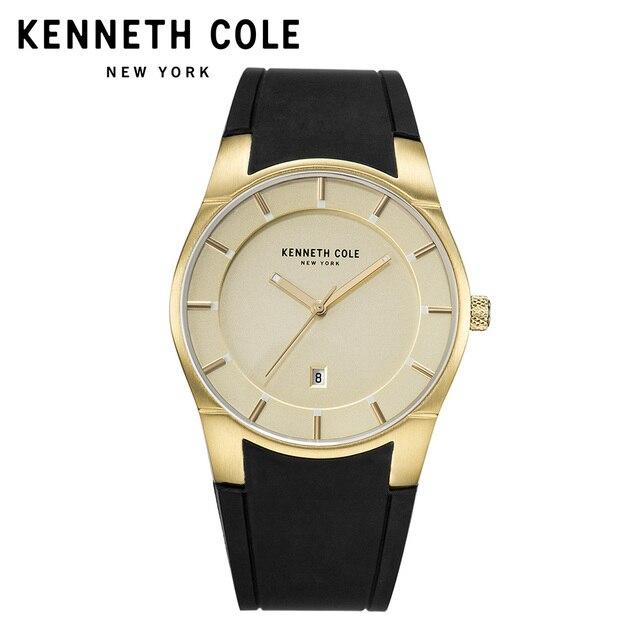 60aaedfe073 Kenneth Cole Originais Mens Relógios KC10027722 Silicone Cinta Fivela de  Ouro À Prova D  Água