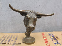 11 DECO ART BRASS Sculpture OX head cattle Bust Garden Decoration 100% real Brass BRASS