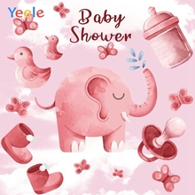 Yeele Baby Shower Party Cartoon Photography Backdrops Elephant Girl Newborn Custom Photographic Backgrounds For Photo Studio