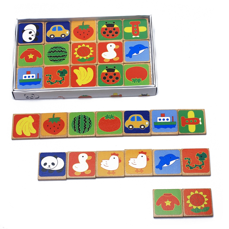 New Arrival 30Pcs Wooden Domino Blocks Toys Multicolored Lovely Animals Fruit Traffic Blocks Beech Wood Learning Educational Toy new arrival wooden deformation robot kids toys educational toy game wood strange shape deformatable cube toys for children