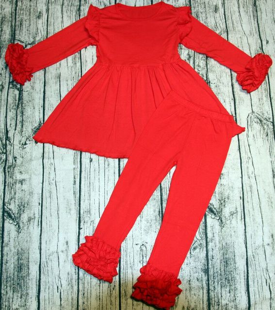 Aicton High Quality Baby Girl Boutique Outfits Girls Solid Pattern