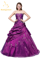 New Stock Cheap Taffeta Burgundy Quinceanera Dresses Ball Gown Appliques Beaded Sweet 16 Dresses 2 4 6 8 10 12 14 16 QA976
