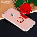Espelho de luxo case para iphone 7 7 plus tpu macio silício cobrir para apple iphone 6 6 s 6 plus anel case coque