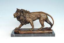 Arts Crafts Copper Bronze Sculpture Lion Statue Animal Lions Carving Hotel Office Decoration Business Gifts AL-209