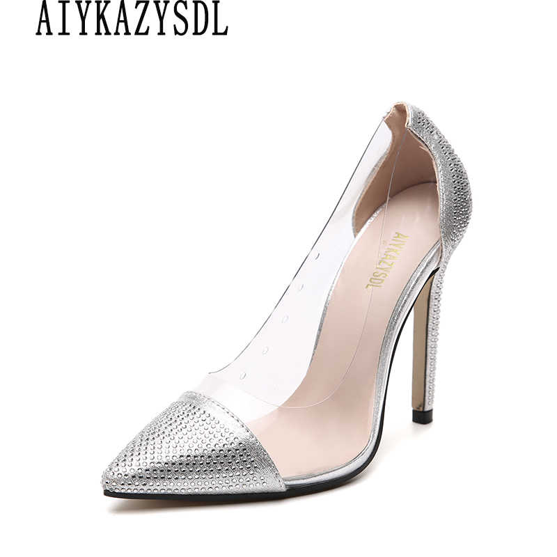 AIYKAZYSDL 2019 PVC Clear Transparent Pumps Women Wedding Bridal Shoes Rhinestone Crystal High Heel Stilettos Dress Clubwear