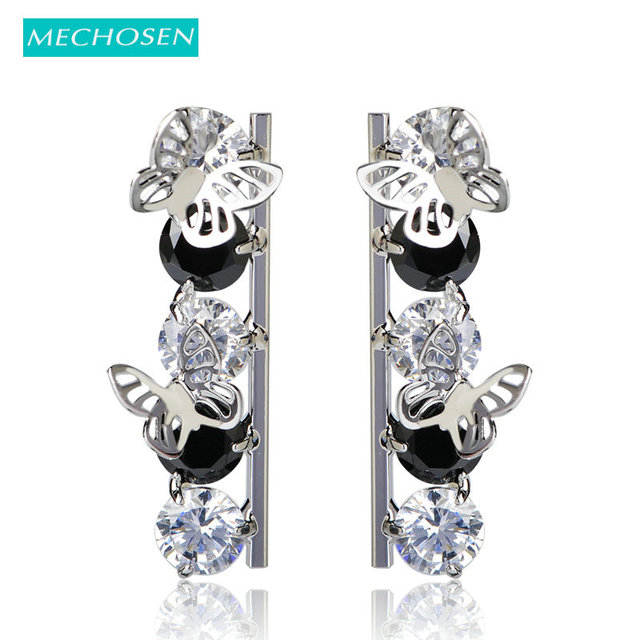 be94f69c7e4f MECHOSEN Fashion CZ Zircon Stud Earrings Rhodium Plated Kawaii Butterfly  Aretes Ear Piercings Cooper Brincos Christmas Gifts UK