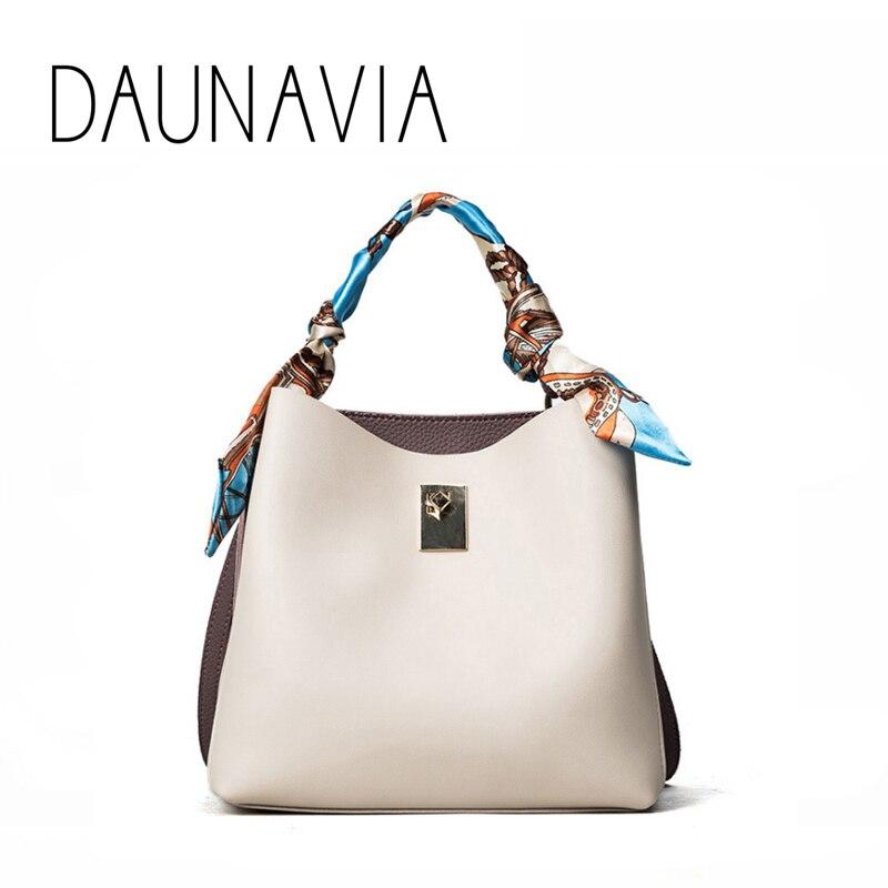 DAUNAVIA 2017 new women bag trend hit color scarf decoration bucket bag fashion handbag bag shoulder Messenger bag