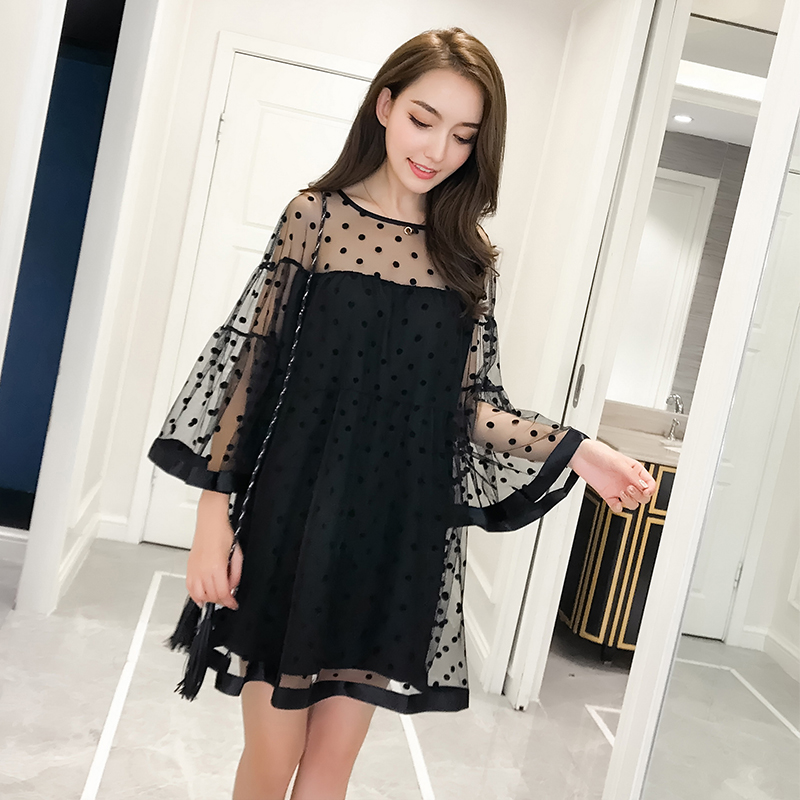 Missoov Fashion Brand Designer Womens Clothing Summer Sweet Lace Mesh Dresses Female Long Vest Lace Dress Black Vestidos New Women's Clothing
