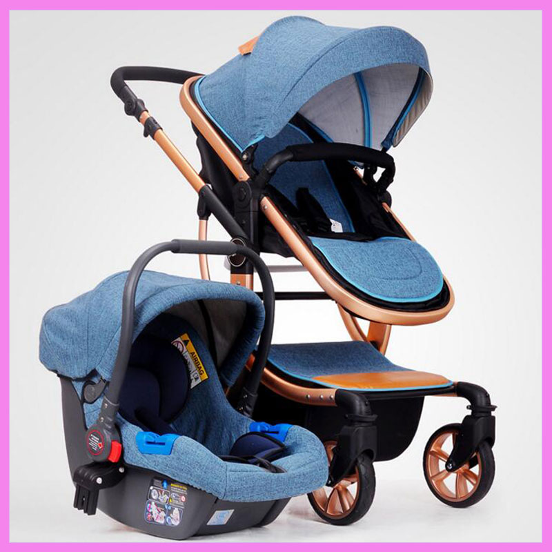 High View Baby Stroller 3 In 1 Baby Car Travel System Baby Carriage Stroller with Car Seat Three-way Luxury Infant Baby Stroller new activity spiral stroller car seat travel lathe hanging toys baby rattles toy