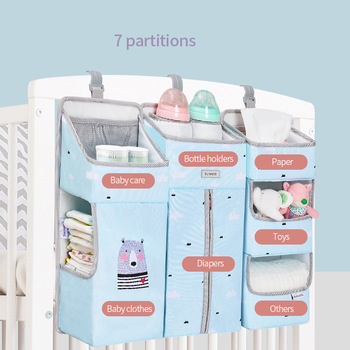 Sunveno Baby Storage Organizer Crib Hanging Storage Bag Caddy Organizer for Baby Essentials Bedding Set Diaper